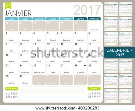 French Printable Monthly Calendar Template Set Stock Vector