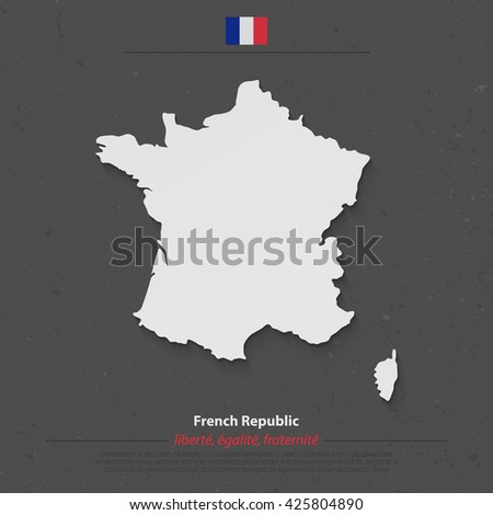 French Republic map and official flag icon over dark background. vector France political map 3d illustration. European State geographic banner template. Republique Francaise vector - stock vector