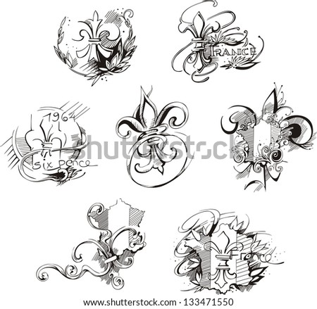 French royal Bourbon lilies. Vector set of black and white illustrations. - stock vector