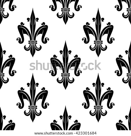French royal fleur-de-lis seamless pattern background for heraldic theme or page fill design with elegant black and white victorian lilies, ornated by swirls - stock vector
