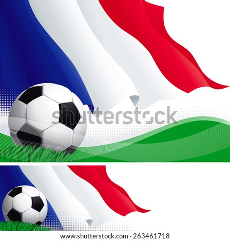 French soccer. Vector background and banner of soccer ball and French flag on green grass.   - stock vector