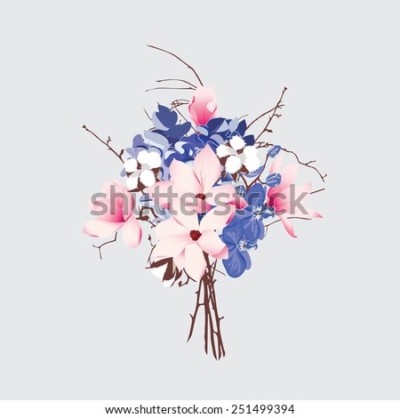 French style seamless vector bouquet  Magnolia, cotton, hydrangea, orchid - stock vector
