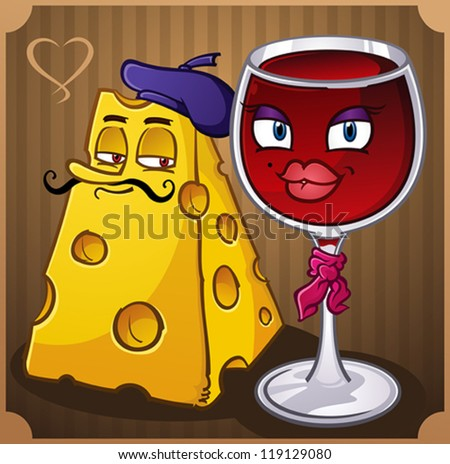 French Wine and Cheese Cartoon Characters - stock vector