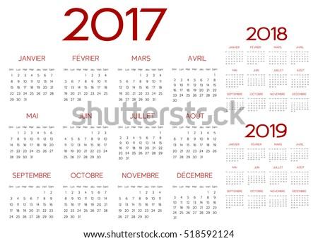 French 2017  year vector calendar calendrier francais