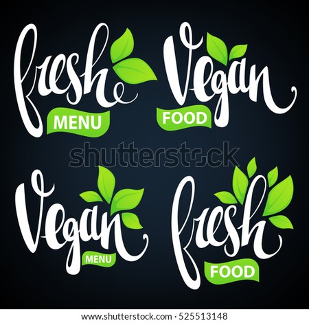 fresh and vegan lettering for your organic food and menu logo