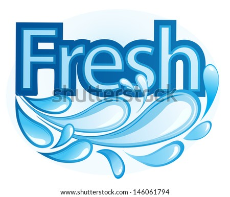 Fresh and Water Label vector - stock vector