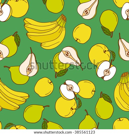Fresh apples, pears and bananas hand drawn background. Doodle wallpaper vector. Colorful seamless pattern fruits