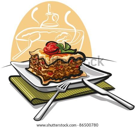 fresh baked lasagna - stock vector