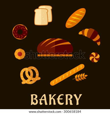 Fresh bakery icons in flat style with round loaf of rye bread on the wooden chopping board encircled by long loaf, toasts, french baguette, salty pretzel and sweet cookie, donut, croissant and bun
