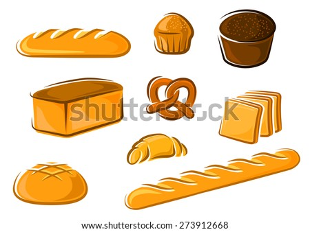 Fresh bakery products in cartoon style including sweet cake, croissant, wheat and rye bread loaves, pretzel, sliced toast bread and baguette for baker shop or food market design - stock vector