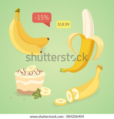 Fresh banana fruits, collection of vector illustrations. Set Peeled and sliced bananas. Organic yellow tropic fruit.