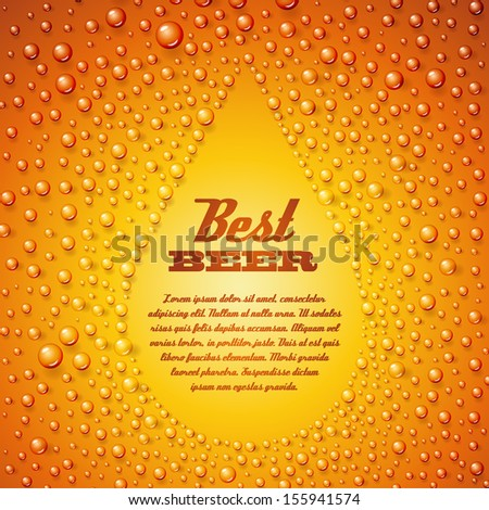 Fresh  beer with condensed water pearls. Vector illustration. - stock vector