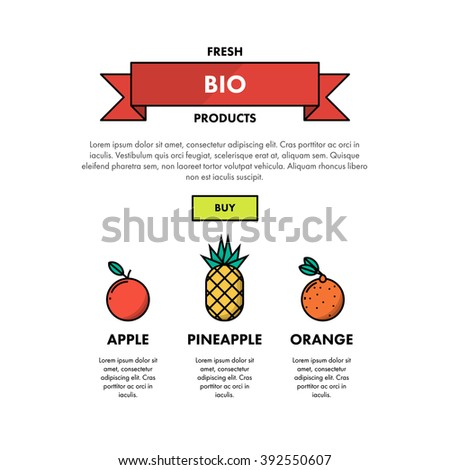Fresh Bio Fruits Products One Page Web Design Template Layout. Infographic and web developing graphic resource. Promotion of healthy and fresh food. Vector Illustration