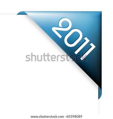 Fresh blue Christmas corner ribbon - New Year 2011 - stock vector