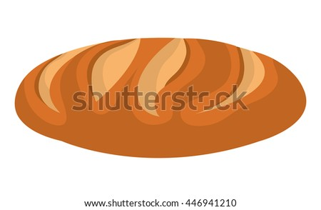 Fresh bread isolated icon on white background, vector illustration.