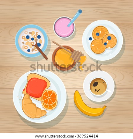 Fresh breakfast with coffee, fruits and sweet pastries on wooden background. Top view - stock vector