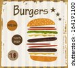 Fresh burgers 100% beef vintage retro poster concept illustration - stock photo