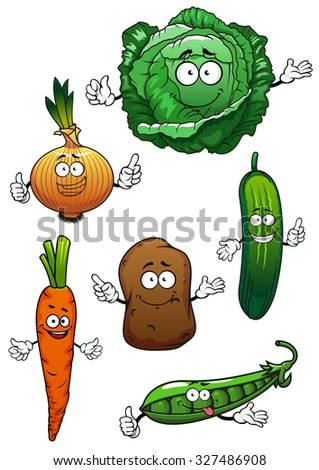 Fresh cartoon green cabbage, cucumber and pea, sweet orange carrot, onion and potato vegetable characters, for agriculture or vegetarian food themes