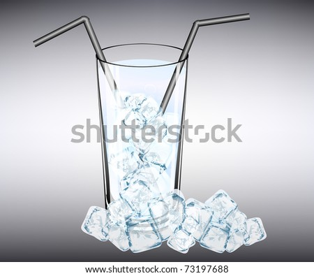 fresh cocktail with ice cubes - stock vector