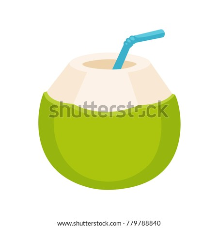 Fresh coconut water drink drawing. Young green coconut with drinking straw, isolated cartoon vector illustration.