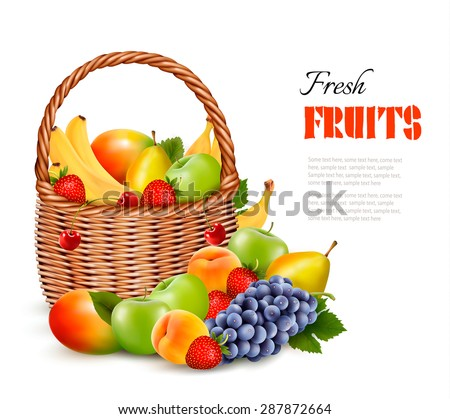 Fresh color fruit in basket. Concept of diet. Vector illustration - stock vector