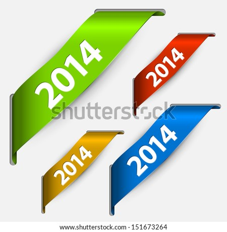 Fresh colorful New Year ribbon vector illustration with 2014