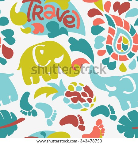 fresh colorful vector elephant travel india ornament background seamless pattern - stock vector