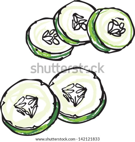 Fresh cucumber slices illustration vector