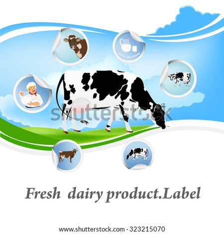 Fresh dairy product.Label - stock vector