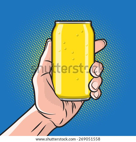 Fresh Drink Can in Hand - stock vector