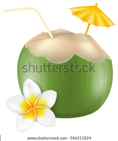 Fresh drinking coconut with a straw, cocktail umbrella and a frangipani flower.