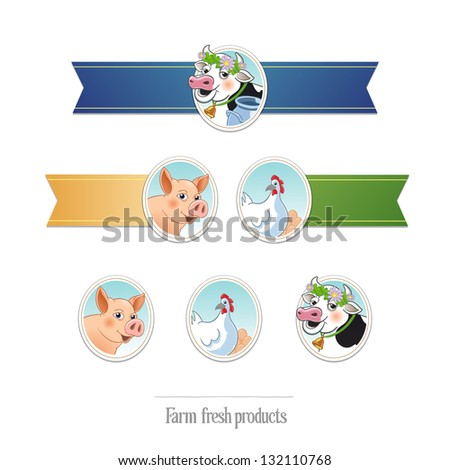 fresh farm products. blank ribbons with farm animal illustrations - stock vector