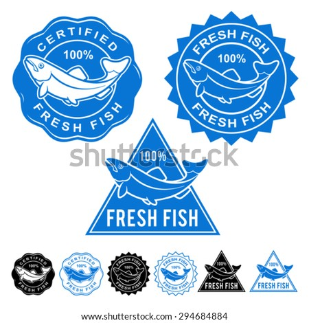 Fresh Fish Certified Seals Icon Set - stock vector