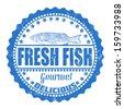 Fresh fish grunge rubber stamp on white, vector illustration - stock