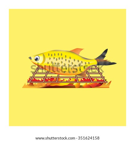 Fresh fish on grill. Design element to menu and board to cafe, bar, restaurant. Grille, open fire. Fried fish. Natural fresh product. Delicious meal. BBQ seafood. Outdoor cooking. Vector illustration