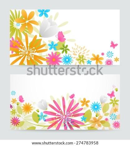 Fresh floral banner - stock vector