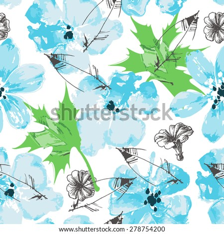 Fresh floral paint seamless pattern - stock vector