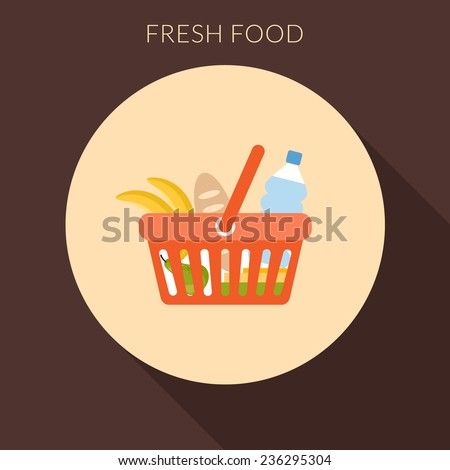 Fresh food concept. Basket with foods vector illustration in flat design style - stock vector