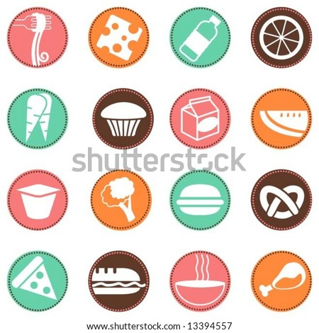 fresh food icons 2 - stock vector
