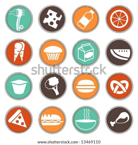 fresh food icons set 4 - stock vector