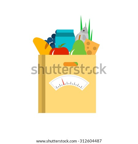 Fresh food in a paper bag with scale. Diet concept, vector illustration