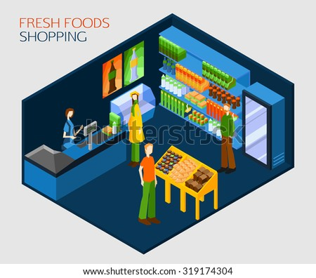 Fresh food shopping concept. People in supermarket buying fresh drinks and best quality products. Flat style design vector illustration. - stock vector