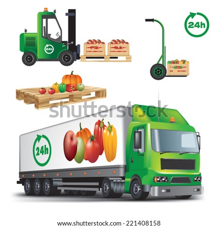 Fresh fruit and vegetables delivery. Vector color illustration on white background. - stock vector