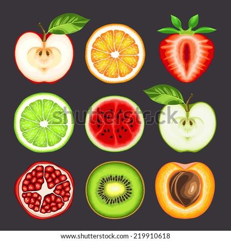 fresh fruit slices - stock vector