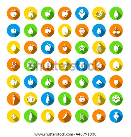 Fresh fruits and vegetables flat silhouettes vector icons set. Farm harvest graphic elements. Exotic tropical citrus symbols. Organic food pictograms. Healthy eating. Vegetarian nutrition products - stock vector