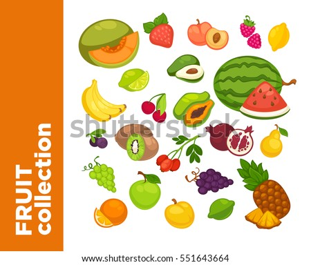 Fresh fruits icons set. Collection of vector sweet vegetarian food illustration: pear and strawberry, orange, apple and banana, peach, lemon and watermelon, pineapple and papaya. Healthy symbols