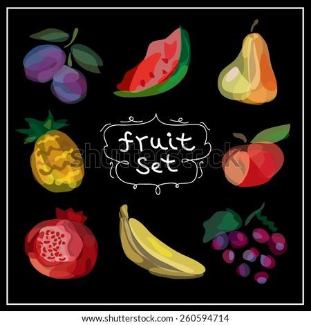 Fresh fruits icons set. Vector illustration. Hand drawn food design. - stock vector