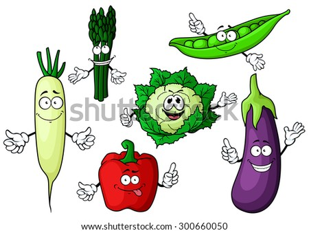 Fresh garden cartoon characters with bell pepper, eggplant, cauliflower, green pea pod, asparagus and daikon vegetables, for agriculture or healthy vegetarian food design - stock vector