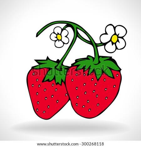 Fresh Garden Strawberries - stock vector