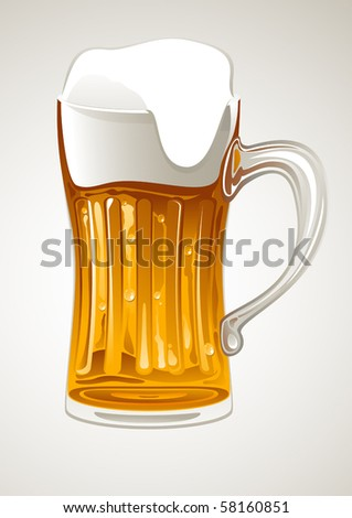 fresh gold beer in glass mug - stock vector